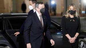 Mario Draghi llega al palacio del Quirinale, este viernes.