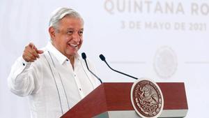 El presidente de México, Andrés Manuel López Obrador, en la rueda de prensa de este lunes en Chetumal, estado de Quintana Roo.
