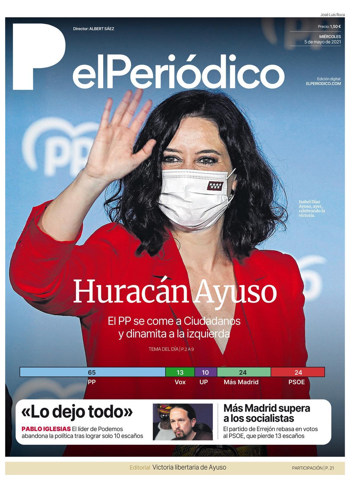 La portada de EL PERIÓDICO del 5 de mayo de 2021