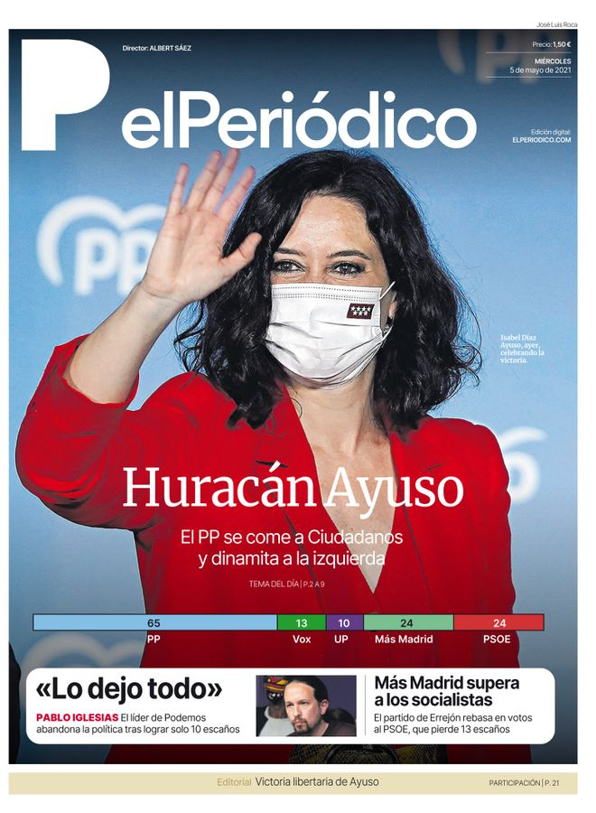 La portada d'EL PERIÓDICO del 5 de maig del 2021