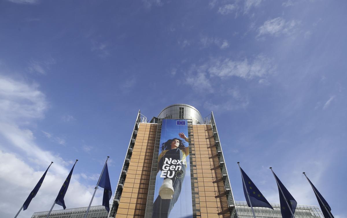 Cartel del programa europeo Next Generation, en Bruselas.