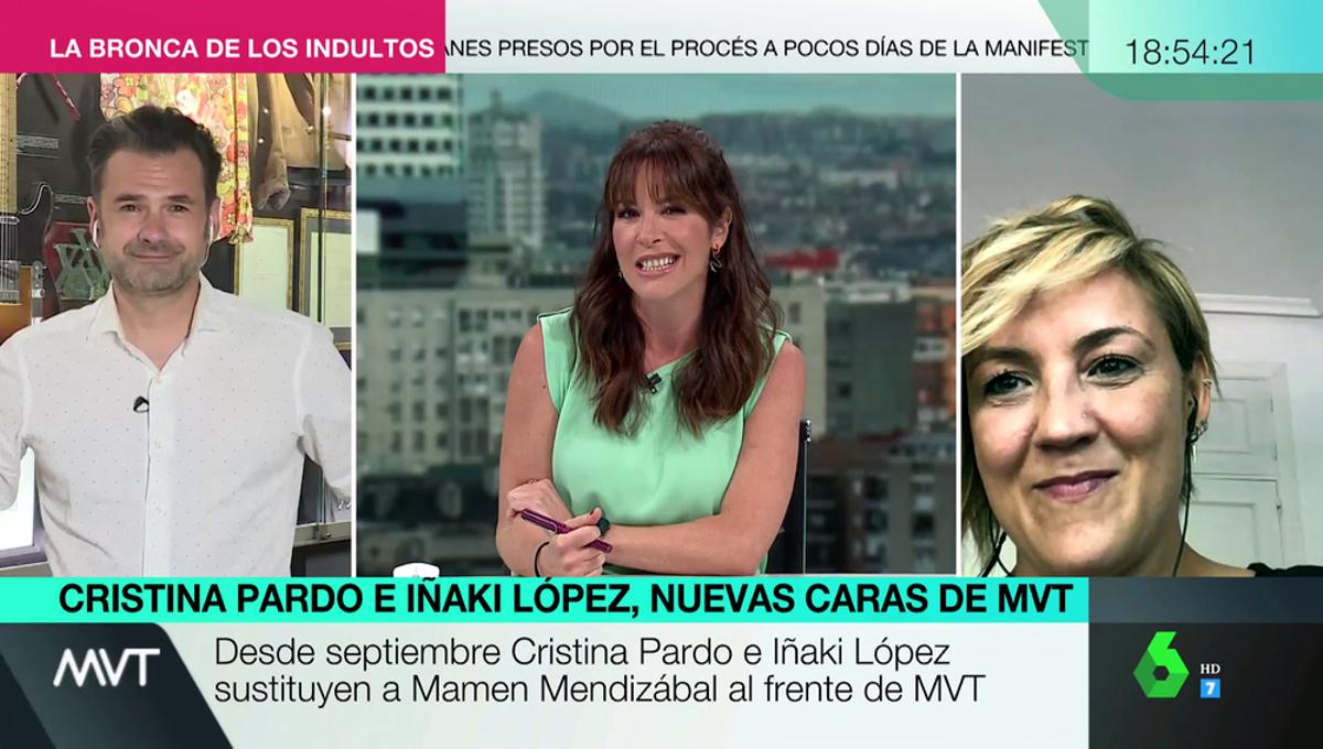 Mamen Mendizábal con Cristina Pardo e Iñaki López