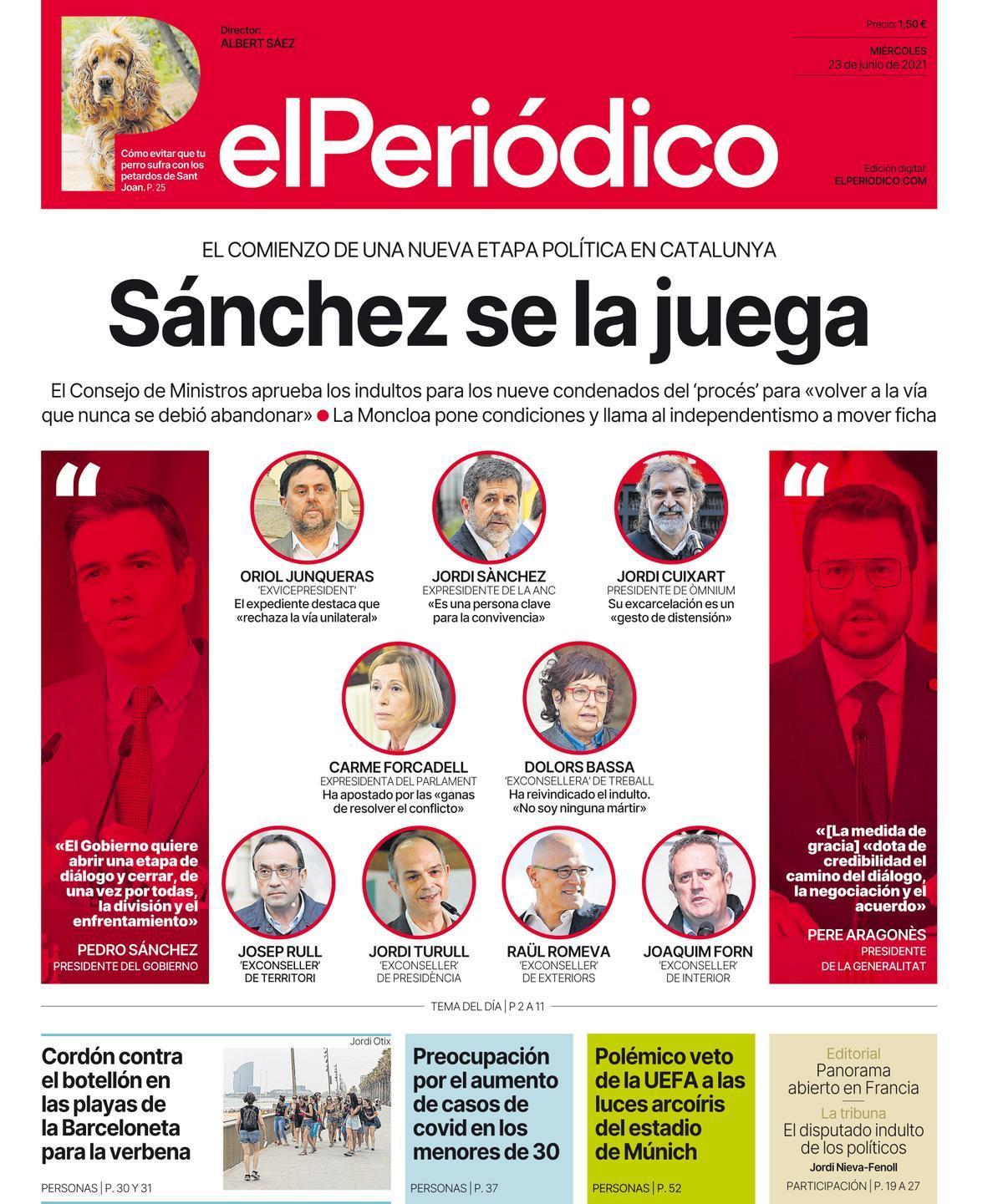 La portada de EL PERIÓDICO del 23 de junio de 2021