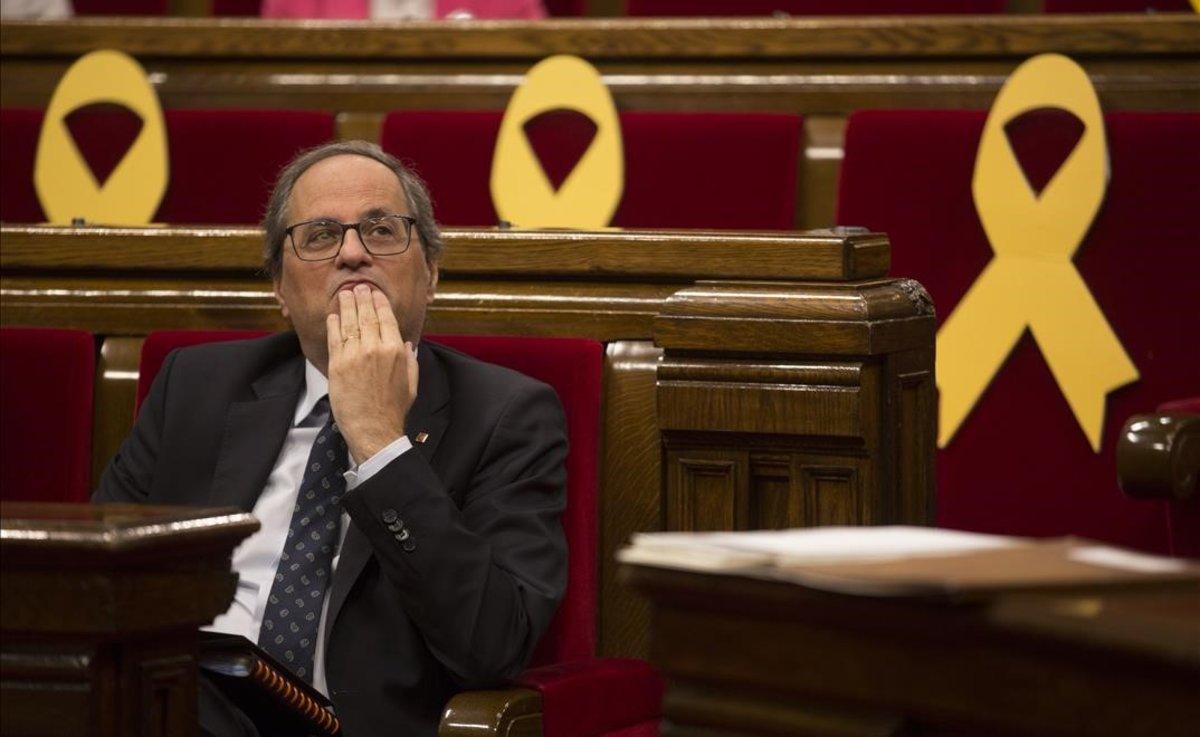 El 'president', Quim Torra, en una sesión de control en el Parlament.