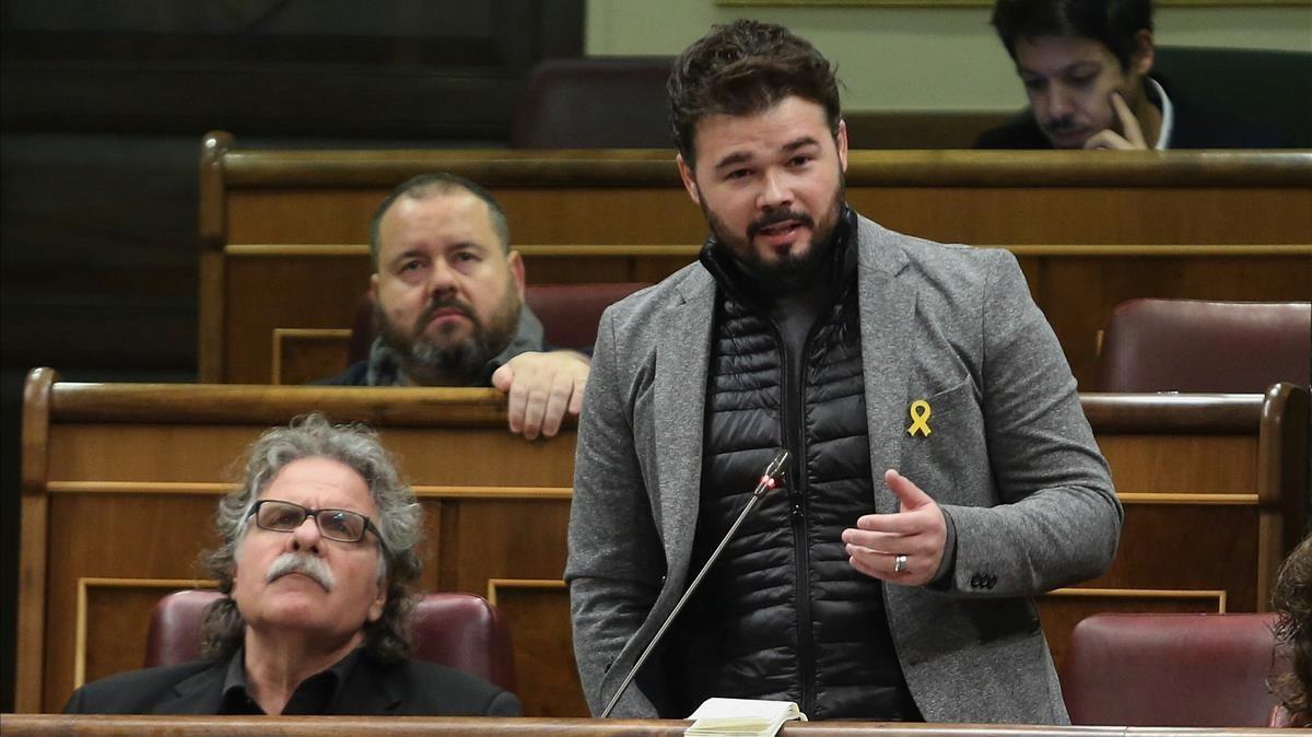 Gabriel Rufián durante la sesión de control al Gobierno.
