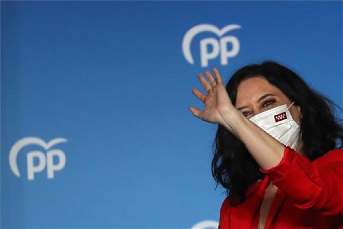 Isabel Díaz Ayuso, tras conocer su victoria, el pasado martes.