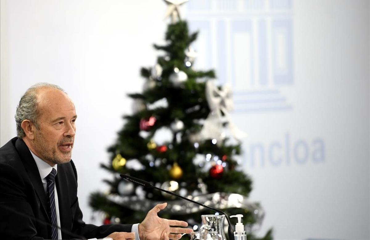 El ministro de Justicia, Juan Carlos Campo, este martes en la Moncloa.