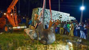 Operación de rescate de un elefante caido en un pozo en Dharmapuri (la India).