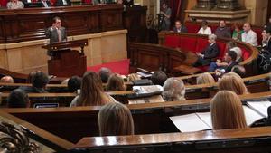 Artur Mas, durante una de sus intervenciones en el Parlament, este jueves.