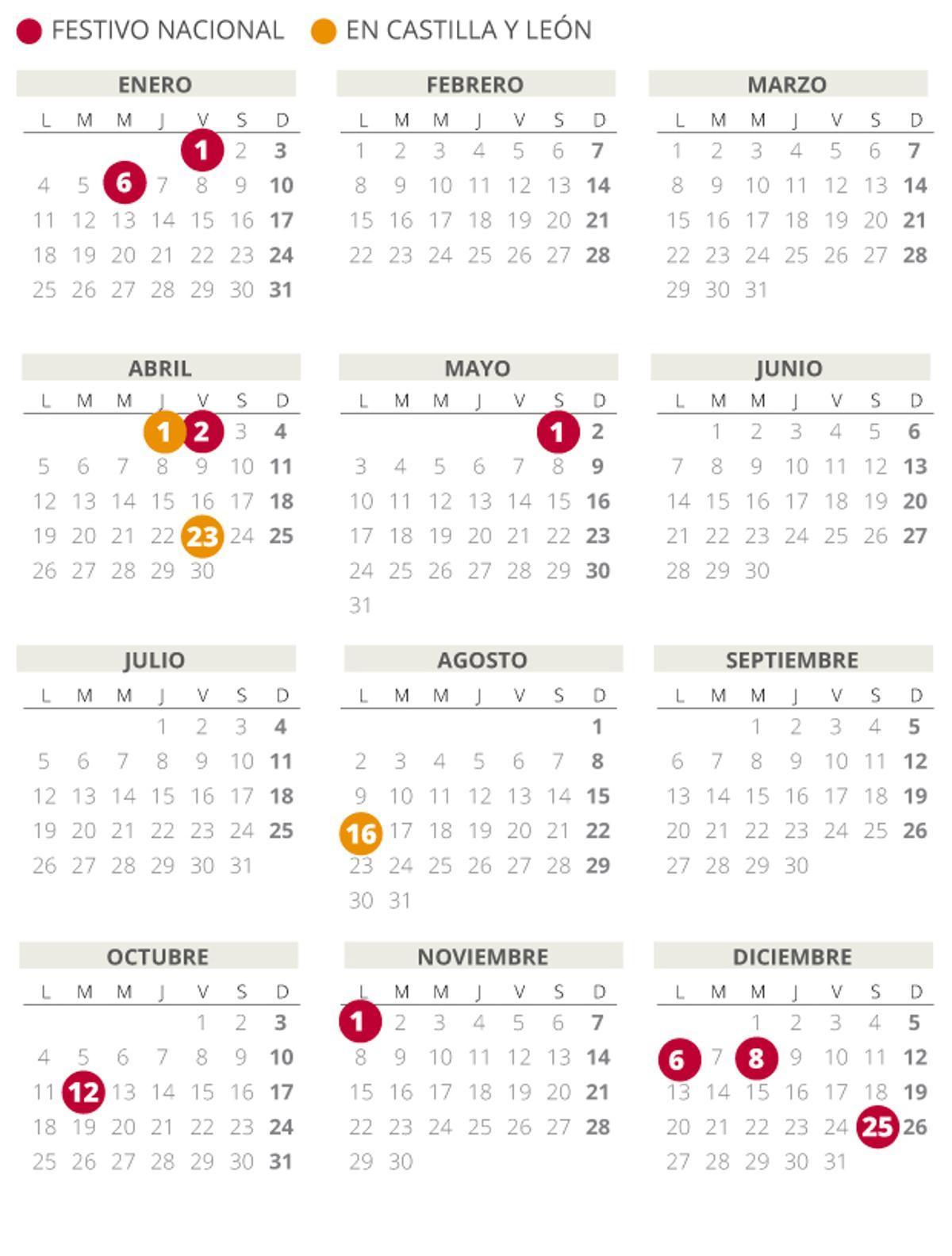 Calendario laboral Castilla y León 2021.