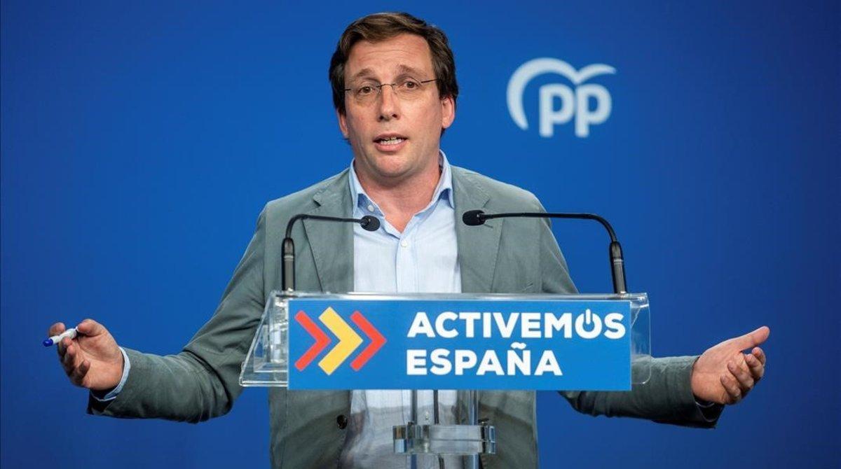 José Luis Martínez-Almeida,el pasado lunes 31 de agosto, en su primera rueda de prensa como portavoz nacional del PP.