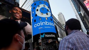 FILE PHOTO  People watch as the logo for Coinbase Global Inc  the biggest U S  cryptocurrency exchange  is displayed on the Nasdaq MarketSite jumbotron at Times Square in New York  U S   April 14  2021  REUTERS Shannon Stapleton File Photo