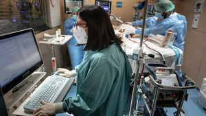 UCI para pacientes con coronavirus en el Hospital Vall d'Hebron de Barcelona.