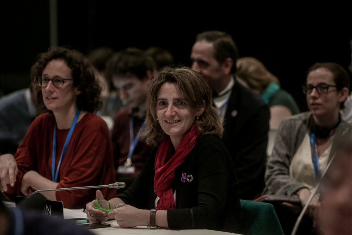 La ministra de Transición Ecológica, Teresa Ribera, en la cumbre del clima, este domingo.
