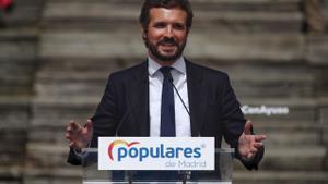El líder del PP, Pablo Casado, el 31 de marzo, interviene en la presentación de la candidatura para las elecciones a la Asamblea de Madrid.