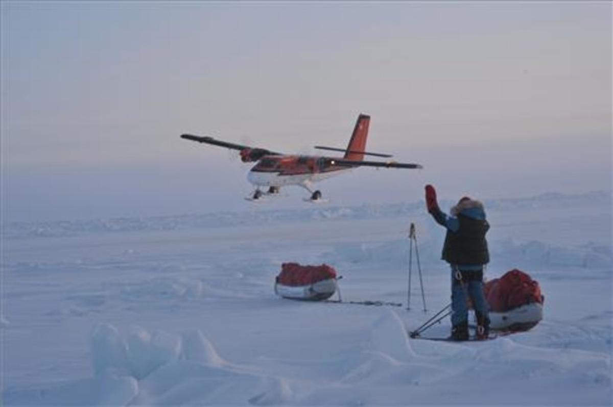 Exploradores en el territorio de Nunavut, en el norte del Canadá