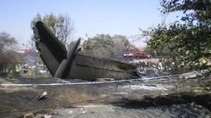 Los restos del avión de Spanair que el 20 de agosto del 2008 se estrelló poco después de despegar en Barajas.