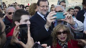 Maiano Rajoy durante un acto electoral en Palma de Mallorca