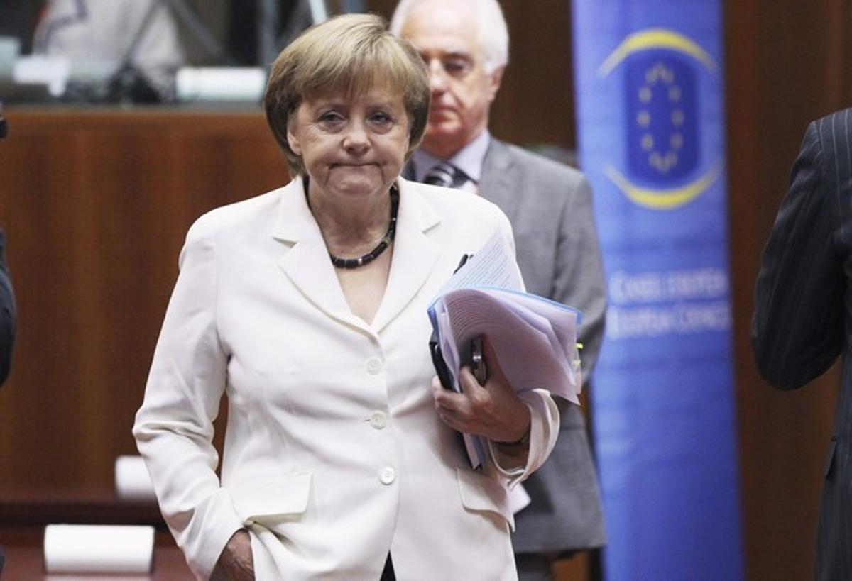 Angela Merkel durante la reunión del Eurogrupo.