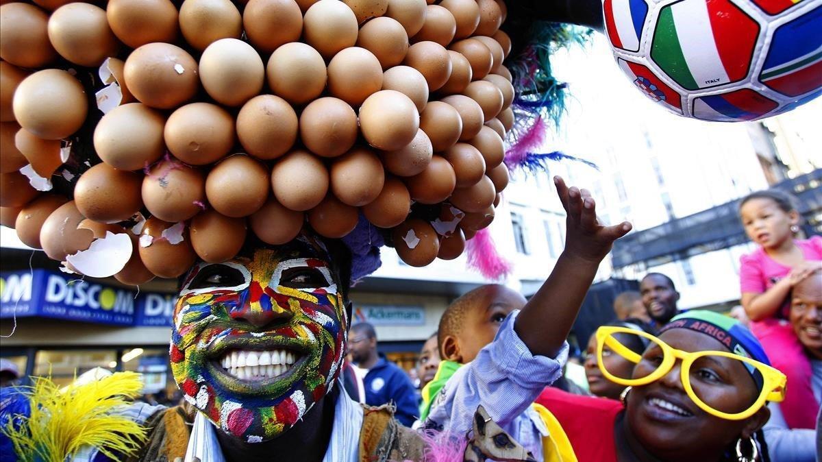 Los hinchas de Sudáfrica, conocidacomo los Bafana Bafana,en una fiesta de fans en Ciudad del Cabo durante el Mundial del 2010.
