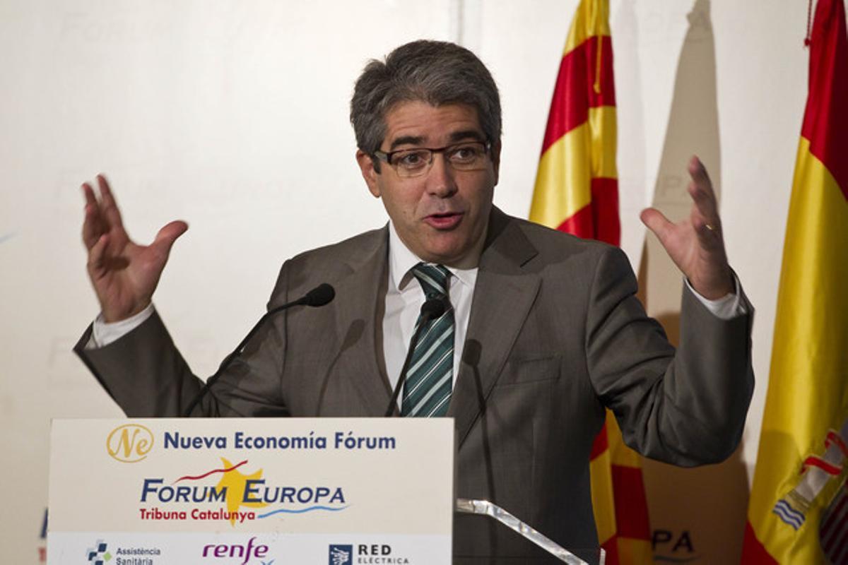 Francesc Homs, el pasado 31 de octubre, durante una conferencia en el Forum Europa.