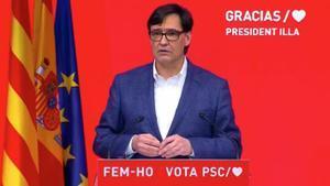 Salvador Illa, la noche de su victoria electoral.