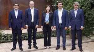 Los directivos del BBVA Xavier Llinares,Onur Genc,Cristina de Parias,Carlos Torres Vila y Joan Piera.