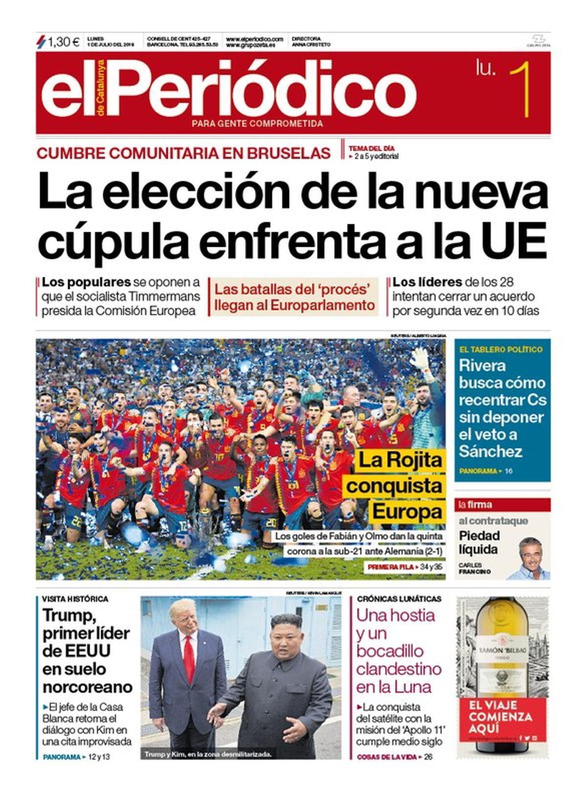 La portada de EL PERIÓDICO del 1 de julio del 2019.