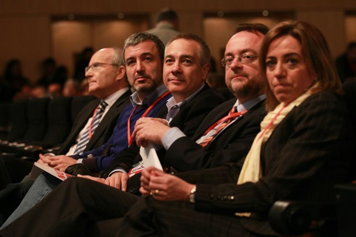 Montilla, Collboni, Navarro, Fernández y Chacón, en el congreso del PSC.