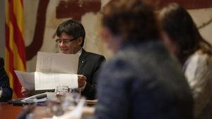 Reunión del Consell Executiu este martes en el palau de la Generalitat.