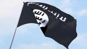 Una bandera del Estado Islámico ondeando.