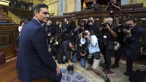 Pedro Sánchez, tras recibir la investidura como presidente del Gobierno.