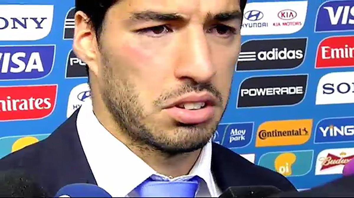 El delantero uruguayo resta importancia al mordisco que le ha dado al defensa Giorgio Chiellini durante el partido que ha enfrentado a sus selecciones en Natal.