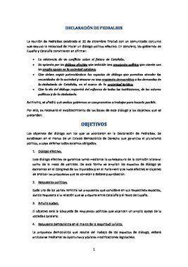 Documento con la propuesta del Gobierno para propiciar el diálogo en Catalunya.