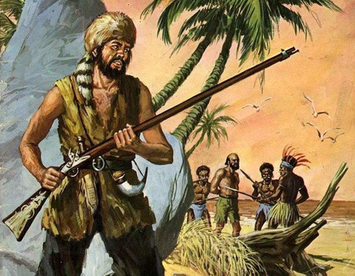 Ilustración de Antonio Bernal para un 'Robinson Crusoe' de la editorial Bruguera.