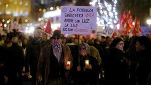 Manifestación contra la pobreza energética, en diciembre del 2016.