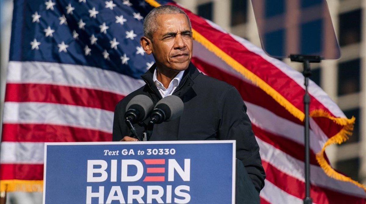 El expresidente de EEUU Barack Obama, en un acto de campaña de Joe Biden, en Georgia.