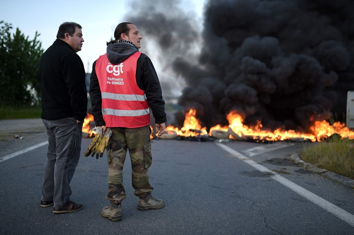 Huelga de trabajadores de una refinería Total en Donges, en el oeste de Francia.