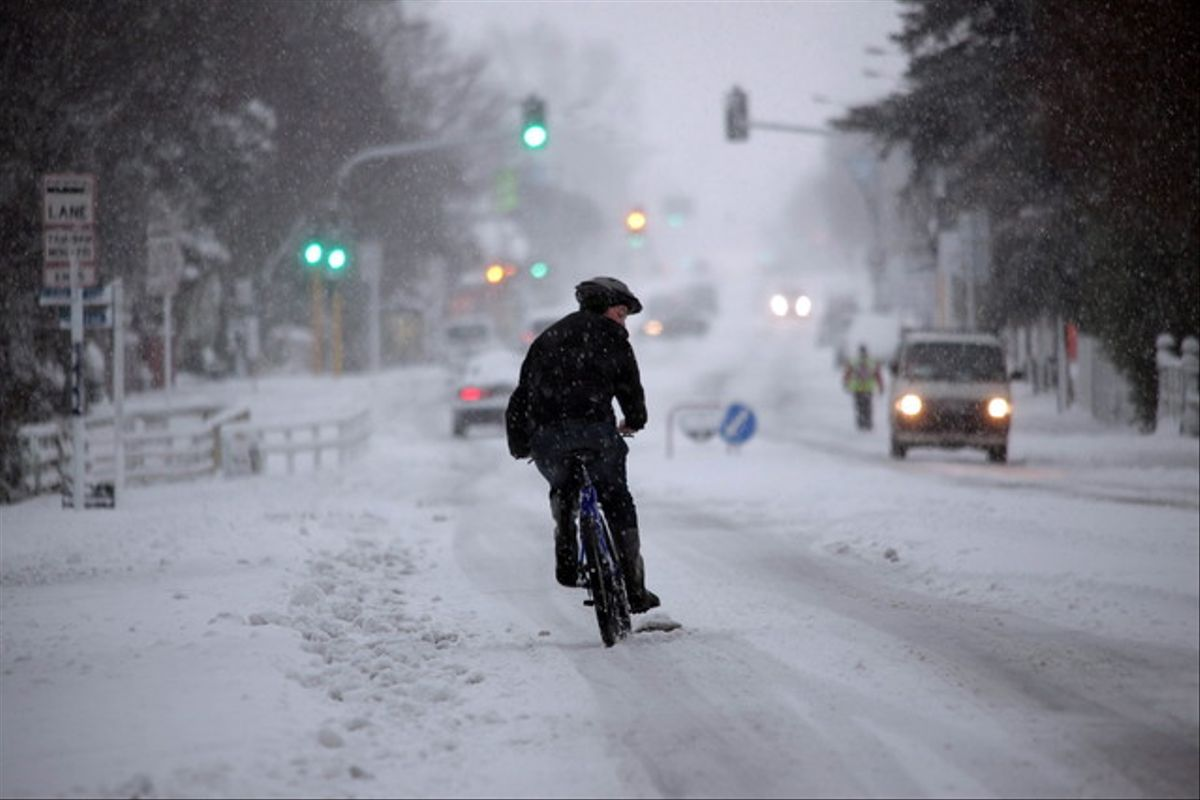 Un aspecto inusual de Christchurch, tras la tormenta de nieve.