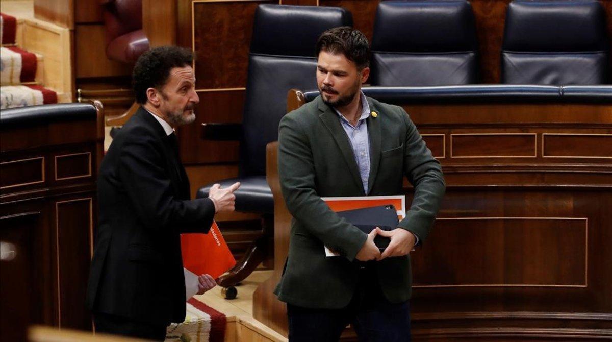 Los portavoces parlamentarios de Cs y ERC, Edmundo Bal y Gabriel Rufián, el pasado 15 de abril en el Congreso.