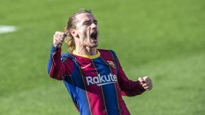 Griezmann celebra un gol en el Camp Nou.