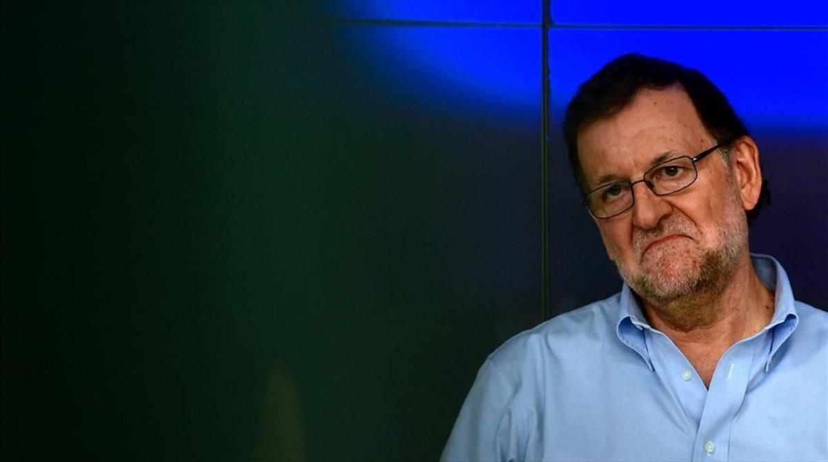 El presidente del Gobierno en funciones, Mariano Rajoy, el 3 de septiembre en la sede del PP de Madrid.