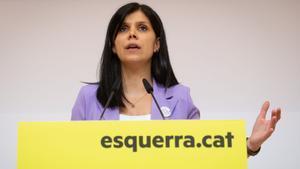 La portavoz de ERC, Marta Vilalta, durante la rueda de prensa