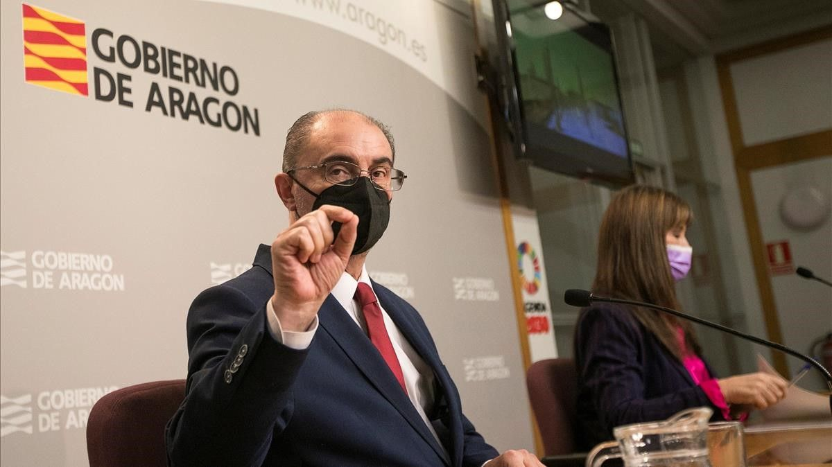 El presidente de Aragón, Javier Lamban  junto con la Consejera de Sanidad, Sira Ripolles, comparecen en rueda de prensa para realizar un balance del impacto de un año de la pandemia.