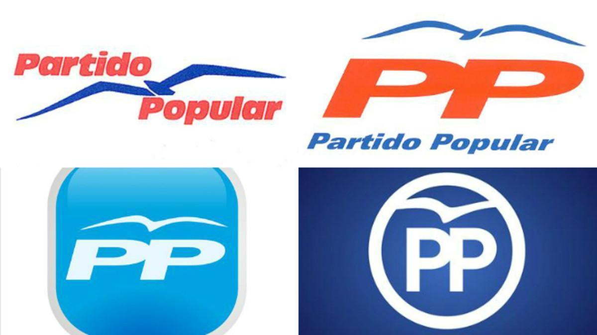 Cuatro de los logotipos que ha tenido el PP desde 1989.