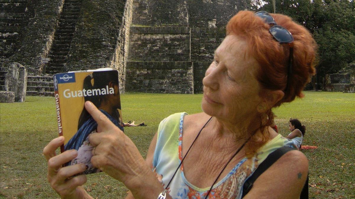 Kandy García Santos, en el yacimiento arqueológico deTikal, en Guatemala.