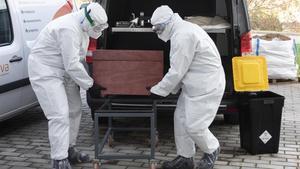 Los funerarios de Mataró trasladan el cuerpo de una persona fallecida por coronavirus dentro del féretro.