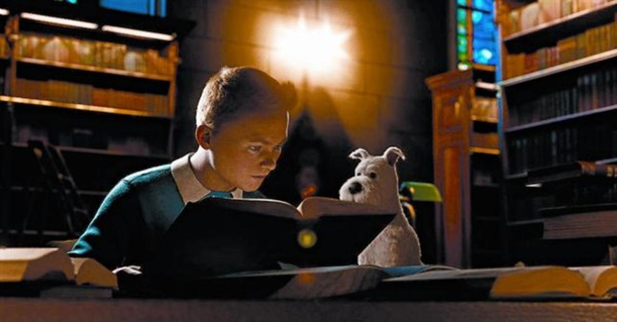 Una imagen de 'Las aventuras de Tintín: el secreto del Unicornio', con el famoso periodista del tupé y su inseparable perro Milú.