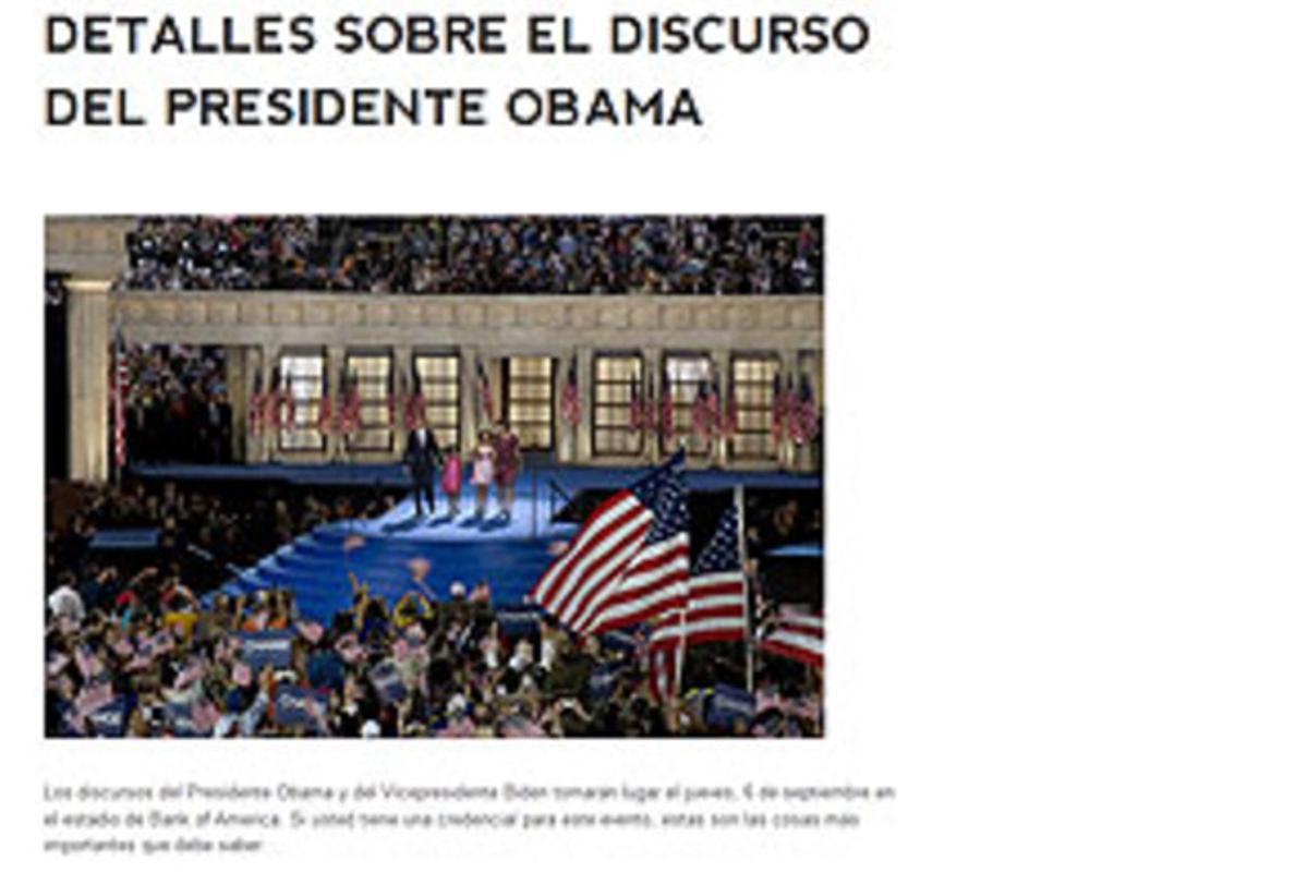 Detalle de la página web de los demócratas en español.