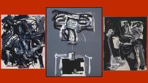 Algunas de las piezas de Antonio Saura expuestas en la galería Mayoral.